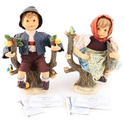 "Goebel ""Apple Tree Boy"" and ""Apple Tree Girl"" Porcelain Dolls"