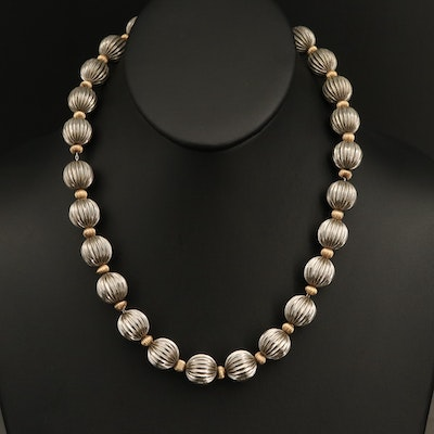 Dobbs Sterling Fluted Bead Necklace