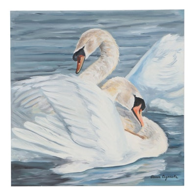 Oil Painting of Swans, 21st Century