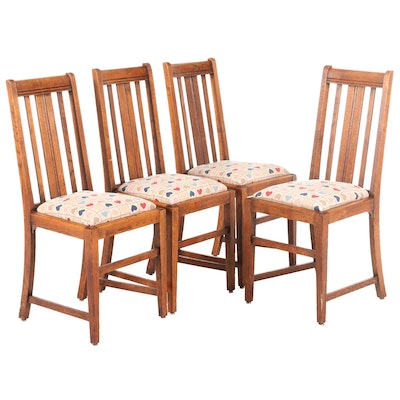 Four Arts and Crafts Oak Dining Chairs, Early 20th Century