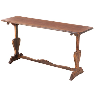 Renaissance Style Walnut Trestle-Base Console Table, Early to Mid 20th Century