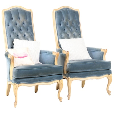 Broyhill French Provincial Style Upholstered Armchairs, Late 20th Century