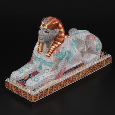 """Herend Limited Edition Multicolor """"Sphinx"""" Porcelain Figurine"""