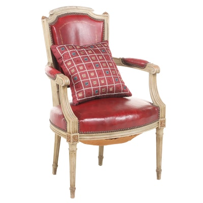 Louis XVI Style Embossed Leather Upholstered Armchair, 20th Century