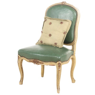 Louis XV Style Leather Upholstered Side Chair, 20th Century