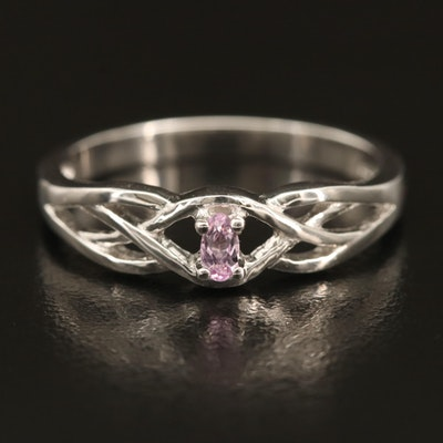 Sterling Kunzite Ring with Woven Shoulders