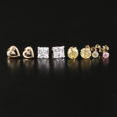 10K and 14K Stud and Single Earrings Including Cubic Zirconia and Diamonds