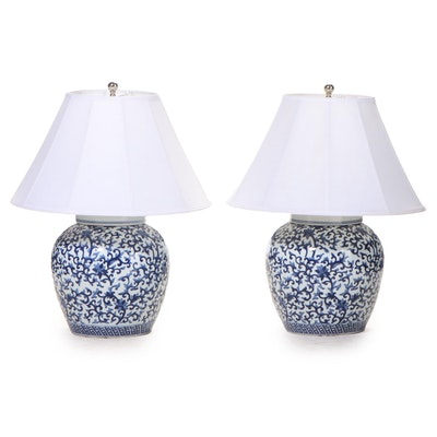 Ralph Lauren Blue and White Ceramic Ginger Jar Table Lamps