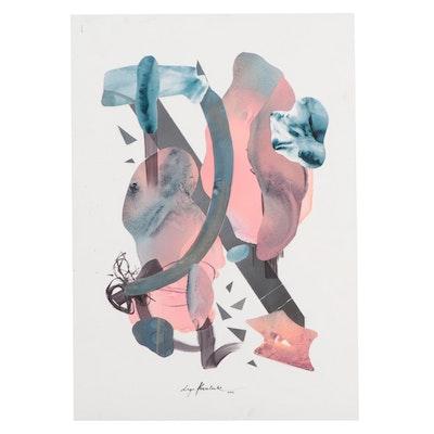 Inga Kovalenko Abstract Ink and Collage Painting, 21st Century