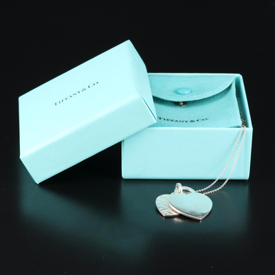 """Tiffany & Co. Sterling Heart Pendant Necklace Featuring """"Tiffany Notes"""" Pendant"""