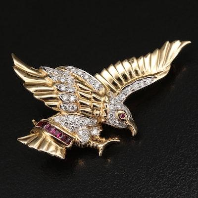 14K Ruby and Diamond Eagle Brooch