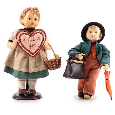 """Goebel Hummel """"Merry Wanderer"""" and """"Valentine Gift"""" Porcelain Dolls"""