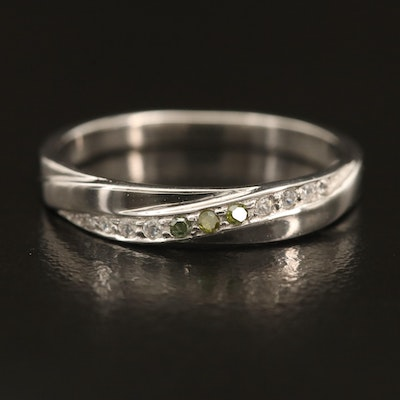 Sterling Silver Zircon and Diamond Ring