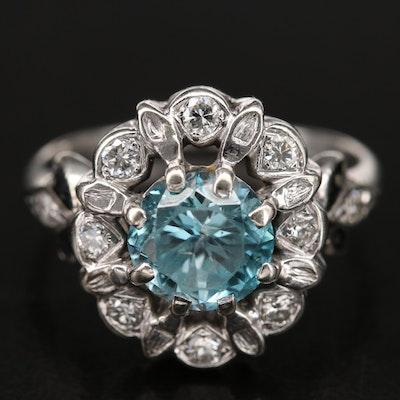 1940s 14K Zircon, Diamond and Enamel Ring