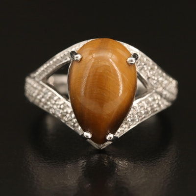 Sterling Tiger's Eye and Topaz Ring