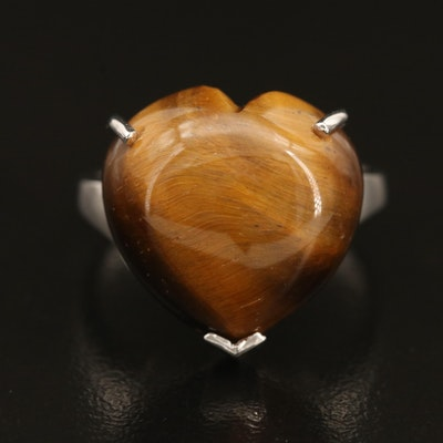 Sterling Tiger's Eye Heart Ring