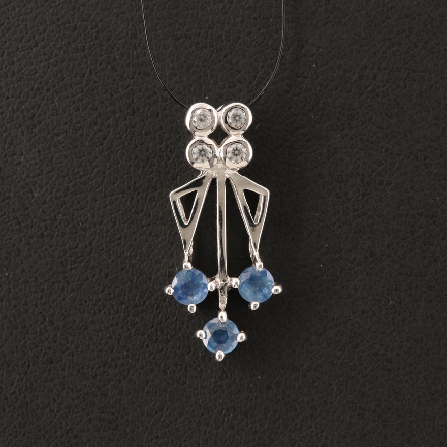 Sterling Sapphire and White Zircon Pendant