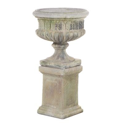 Unique Stone Neoclassical Style Stone Garden Urn Planter