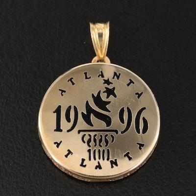 1996 Atlanta Olympics 14K Black Onyx Commemorative Pendant