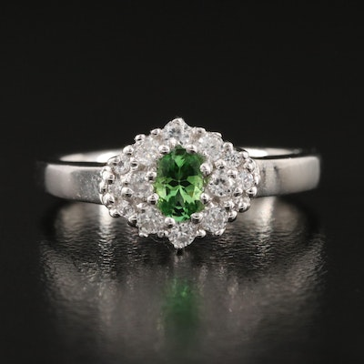 Sterling Silver Tourmaline and Zircon Ring