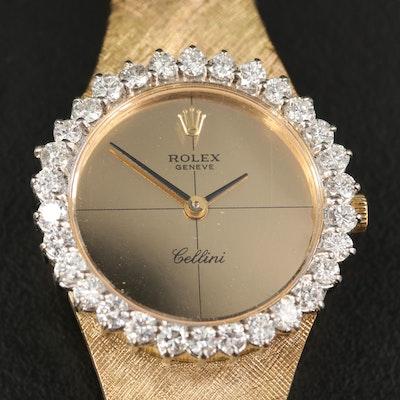 Rolex Cellini 18K 1.50 CTW Diamond Bezel Zephyr Mirrored Dial Wristwatch