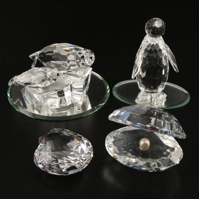 Swarovski Penguin, Oyster and Other Crystal Animal Figurines