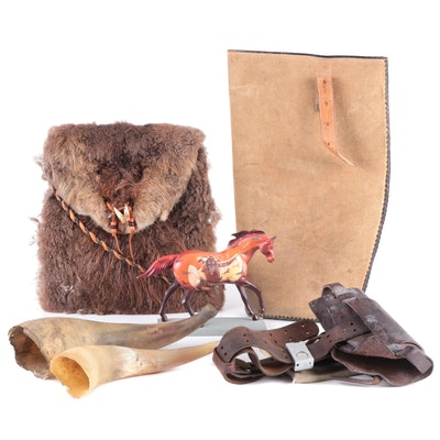 Leather Hunting Belt and Pouch, Beaver Hide Bag and More
