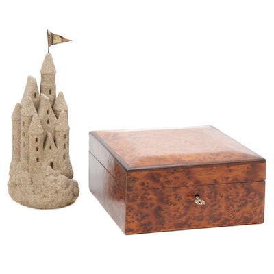Burl Wood Box with Key and Castle Sand Sculpture