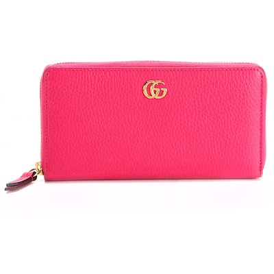 Gucci Zip-Around Wallet in Fuchsia Pebble Grain Leather with Box