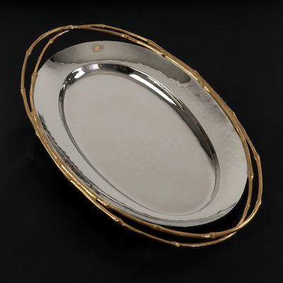 """L'Objet """"Evoca"""" Stainless Steel Oval Serving Tray"""
