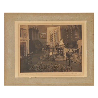 """Wallace Nutting Hand-Colored Silver Print """"An Old Time Romance"""""""