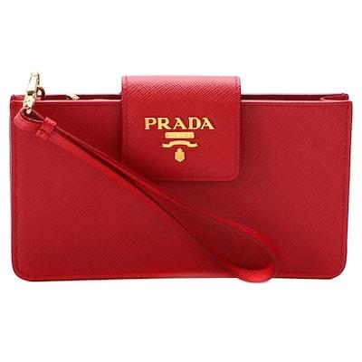Prada Red Saffiano Leather Zip Pouch Wristlet