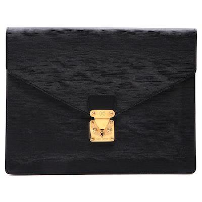 Louis Vuitton Senator Document Case in Noir Epi Leather