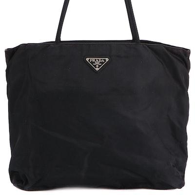 Prada Shoulder Bag in Black Tessuto Nylon with Cord Straps