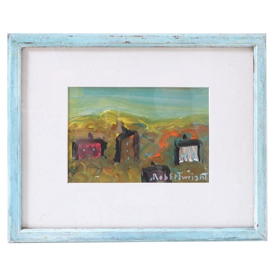 Robert Wright Folk Art Acrylic Painting of Houses