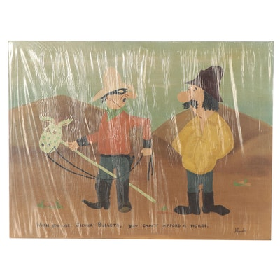 J. Sparks Folk Art Oil Painting of Cowboys, Circa 1981
