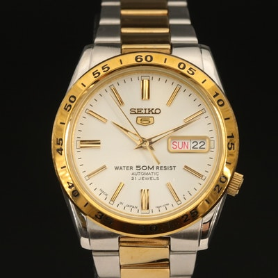 Two Tone Seiko 5 Automatic Day/Date Stainless Steel Wristwatch
