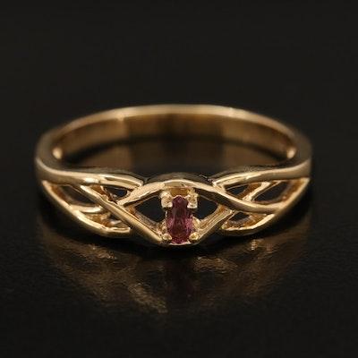 Sterling Tourmaline Braided Openwork Ring