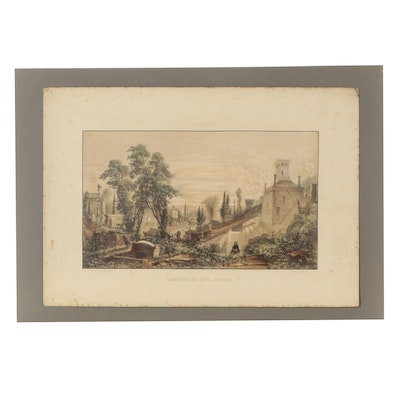 Hand-Colored Lithograph After Sabatier of Cemetery