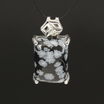 Sterling Snowflake Obsidian Pendant