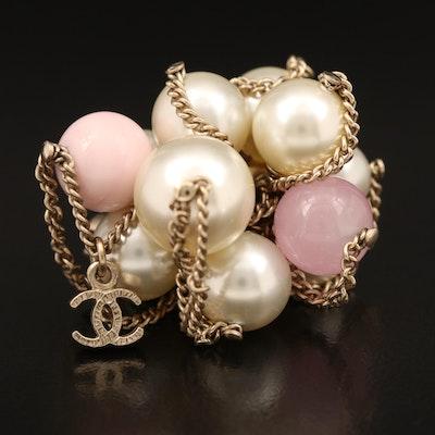 Chanel Faux Pearl Pom Pom Ring