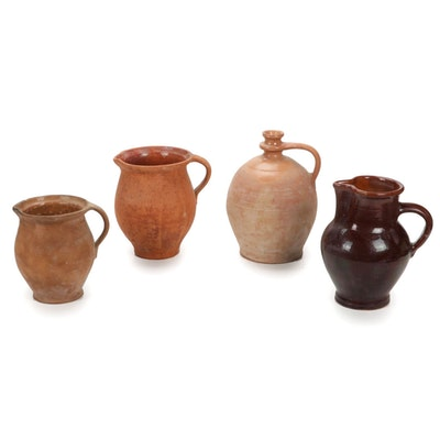European Earthenware Pitchers and Jug, Antique
