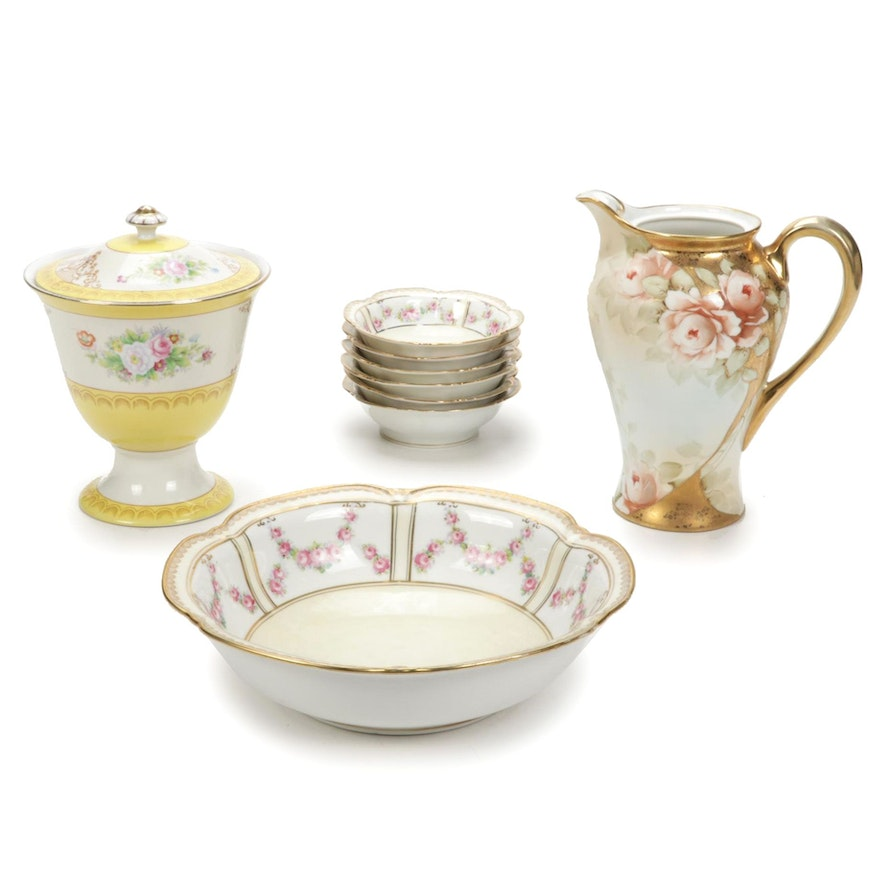 Nippon and Morimura Brothers Hand-Painted Porcelain Serveware