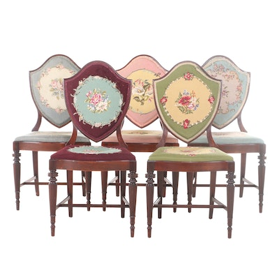 Five Federal Style Mahogany and Needlepoint Side Chairs, Early 20th Century