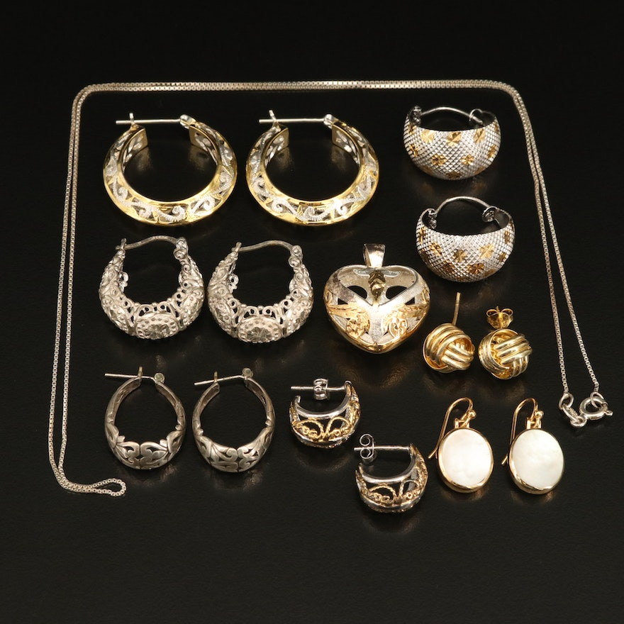 Earrings, Pendants and Necklaces Including Sterling and Mother of Pearl