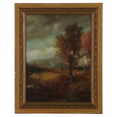 Patrick Vincent Berry Autumn Landscape Oil Painting, Late 19th Century