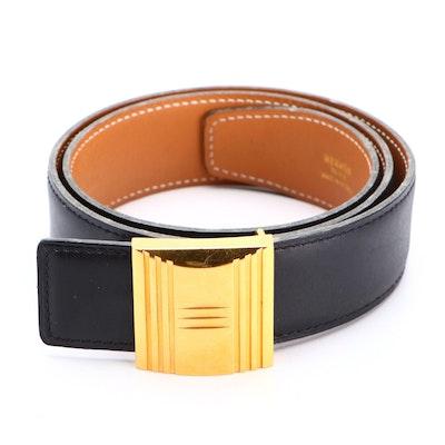 Hermès Belt with H-Lock Buckle in Black Box Calf