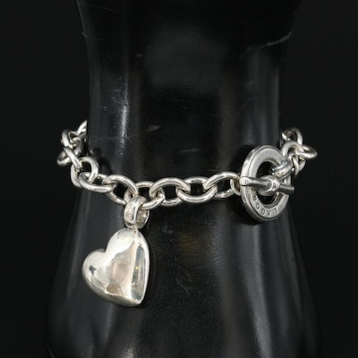 Lagos Sterling Cable Chain Bracelet with Heart Charm