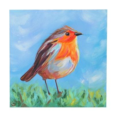 Alyona Glushchenko Oil Painting of a Bird, 21st Century