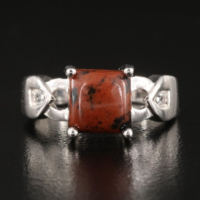 Mahogany Obsidian with Topaz Sterling Silver Ring